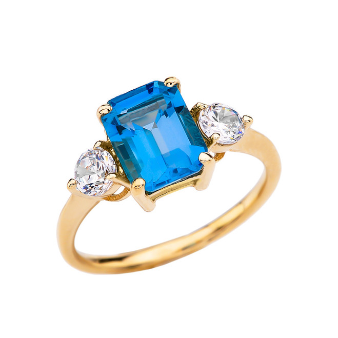 Yellow Gold 2.5 Carat Blue Topaz Modern Ring With White Topaz Side-stones