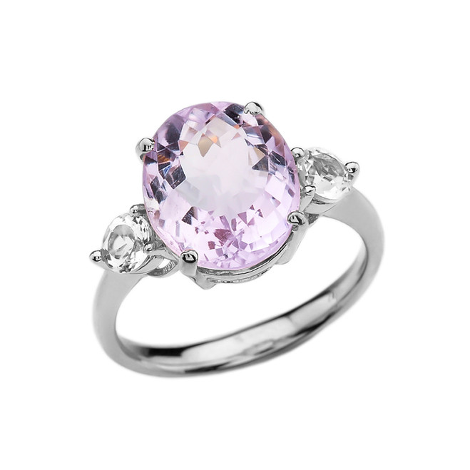 White Gold 4 Carat Pink Amethyst Modern Promise Ring With White Topaz Side-stones