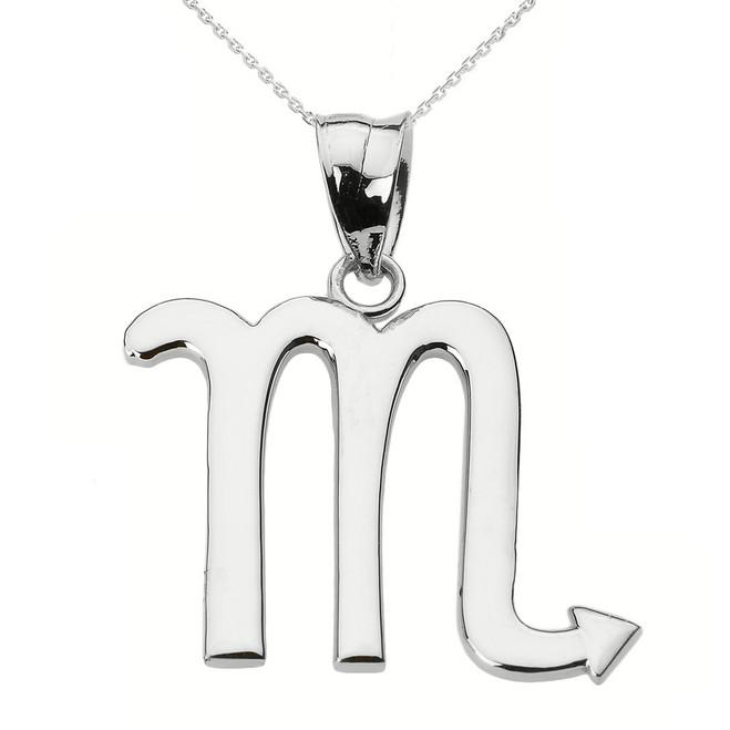 Sterling Silver Scorpio November Zodiac Sign Pendant Necklace
