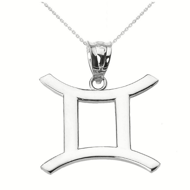 Sterling Silver Gemini June Zodiac Sign Pendant Necklace