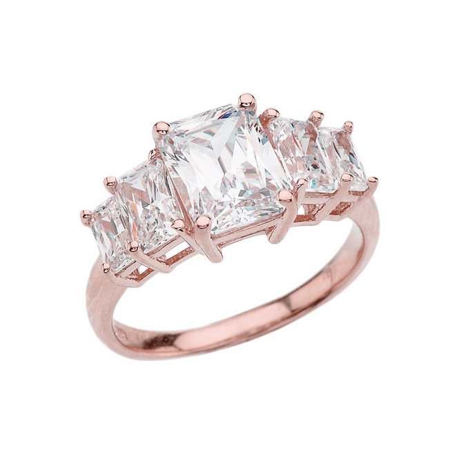 7 Carat Cubic Zirconia Rose Gold Engagement and Proposal/Promise Ring