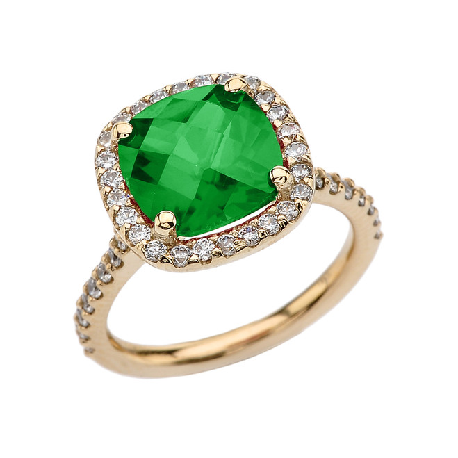 Halo Cushion 3 Ct Checkerboard Emerald(LCE) and Diamond Yellow Gold Engagement and Proposal/Promise Ring