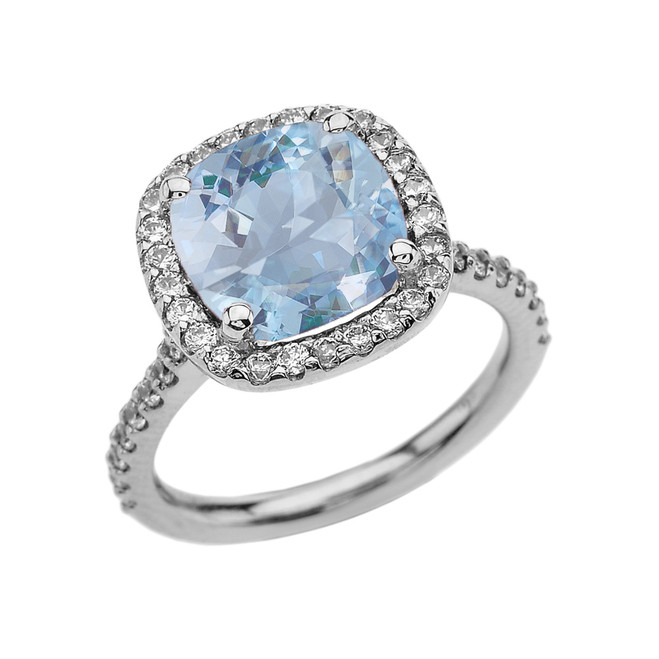 Halo Cushion 4 Ct Checkerboard Aquamarine(LCA) and Diamond White Gold Engagement and Proposal/Promise Ring