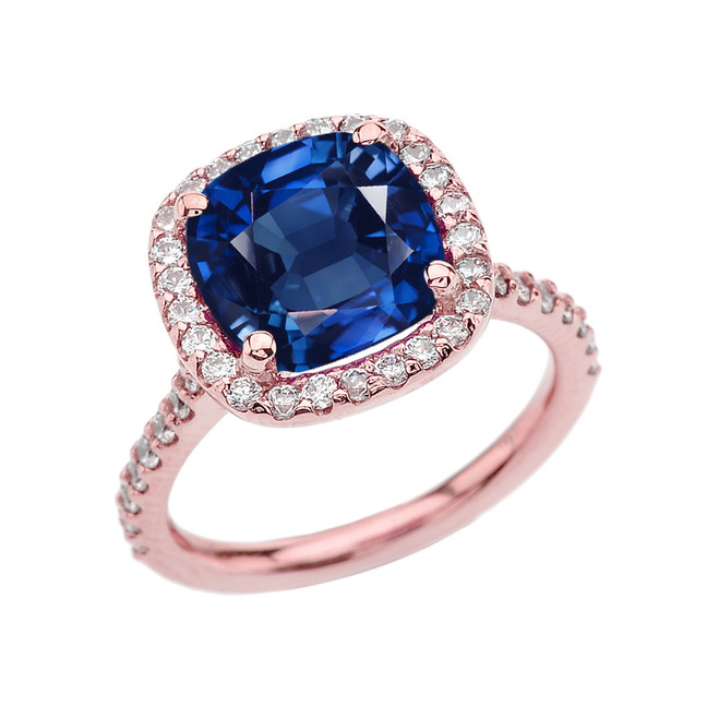 Halo Cushion 4 Ct Checkerboard Sapphire(LCS) and Diamond Rose Gold Engagement and Proposal/Promise Ring