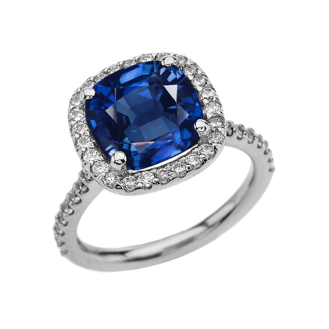 Halo Cushion 4 Ct Checkerboard Sapphire(LCS) and Diamond White Gold Engagement and Proposal/Promise Ring