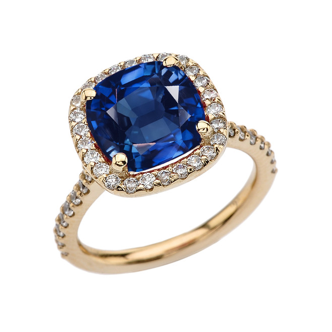 Halo Cushion 4 Ct Checkerboard Sapphire(LCS) and Diamond Yellow Gold Engagement and Proposal/Promise Ring