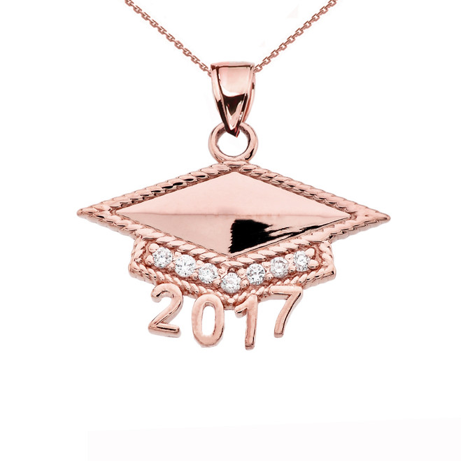 Rose Gold  Class of 2017 Graduation Cap with Cubic Zirconia Pendant Necklace
