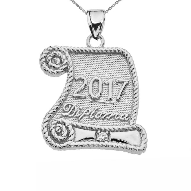 Sterling Silver Class of 2017 Graduation Diploma With Cubic Zirconia Pendant Necklace