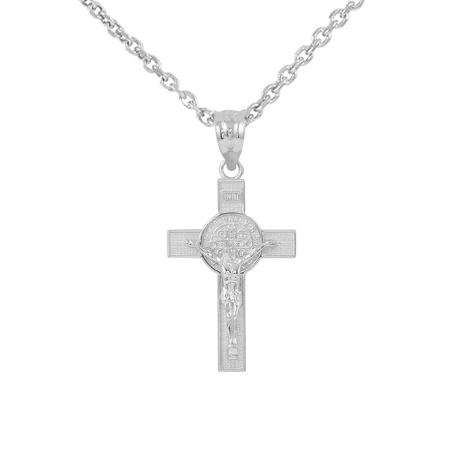 """Sterling Silver St. Benedict Crucifix Pendant Necklace  (1.10"""")"""