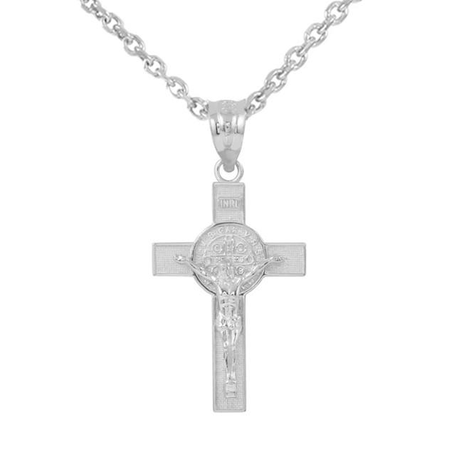 White Gold St. Benedict Crucifix Pendant Necklace