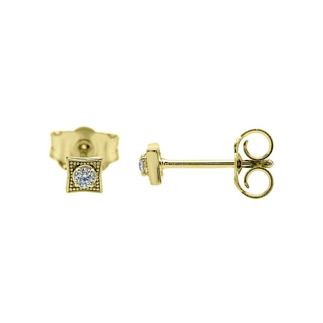 Square Diamond Yellow Gold Stud Earrings