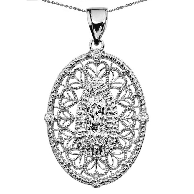 White Gold Our Lady of Guadalupe Pendant Necklace With Cubic Zirconia Side Stones