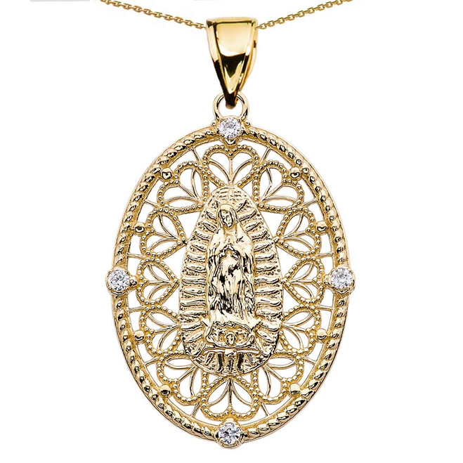 Yellow Gold Our Lady of Guadalupe Pendant Necklace With Diamond Side Stones