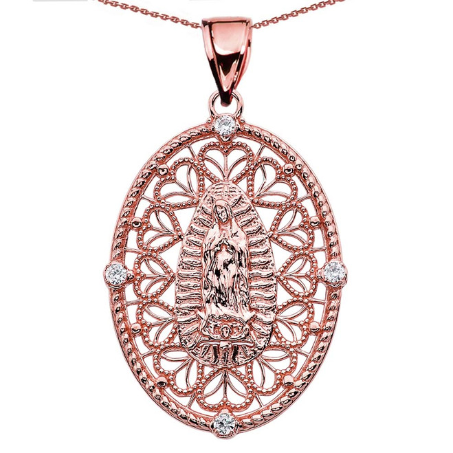 Rose Gold Our Lady of Guadalupe Pendant Necklace With Diamond Side Stones