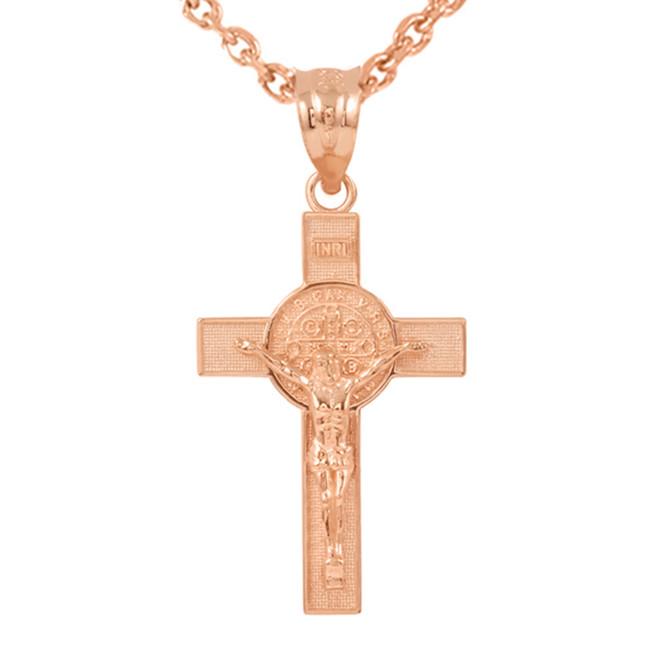 "Rose Gold St. Benedict Crucifix Pendant Necklace (1.60"")"
