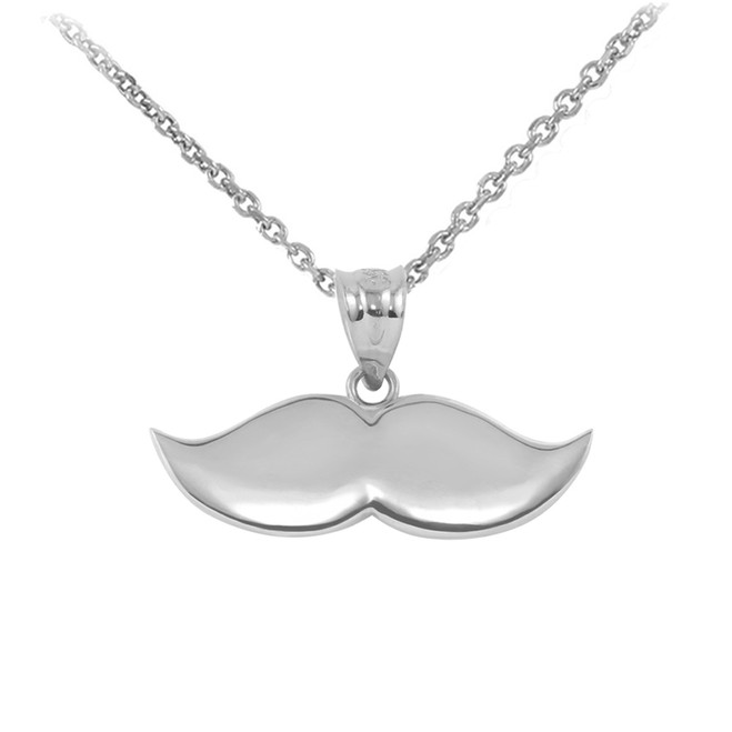 Sterling Silver Mustache Charm Pendant Necklace