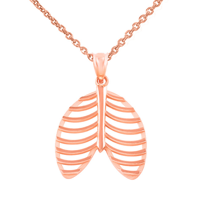 Rose Gold Human Rib Cage Anatomy Pendant Necklace