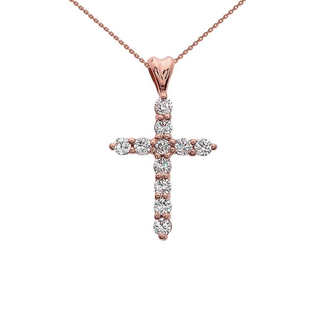Cubic Zirconia Cross Rose Gold Pendant Necklace