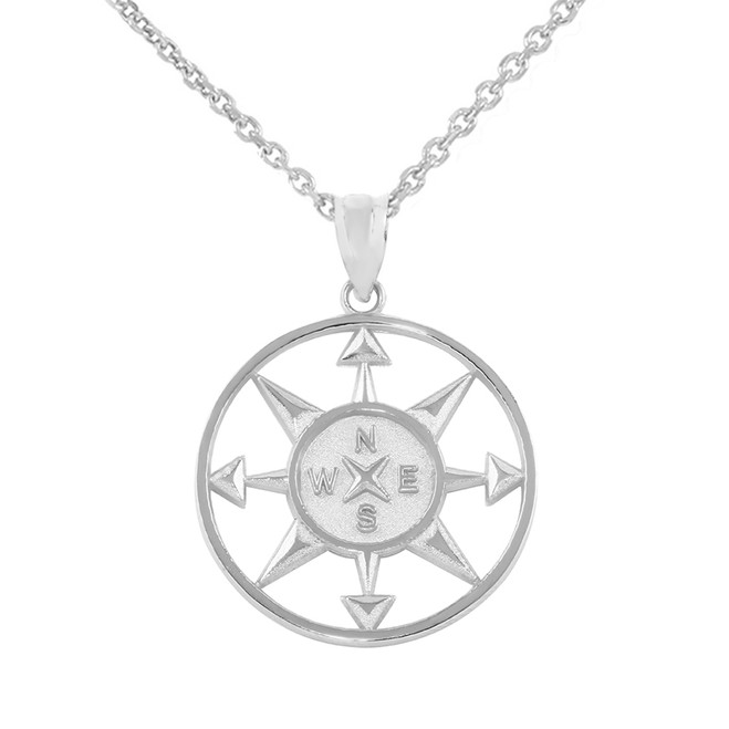 White Gold Compass Circle Pendant Necklace