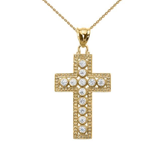 Yellow Gold Diamond Cross  Pendant Necklace