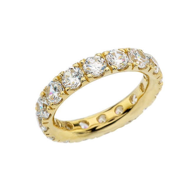 4mm Comfort Fit Yellow Gold Eternity Band With 7 ct April Birthstone Cubic Zirconia