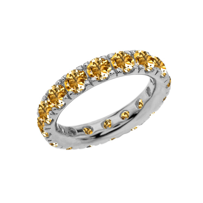 4mm Comfort Fit Sterling Silver Eternity Band With November Birthstone Citrine