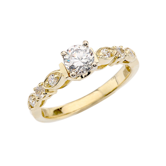 Yellow Gold Engagement/Proposal Ring With Cubic Zirconia