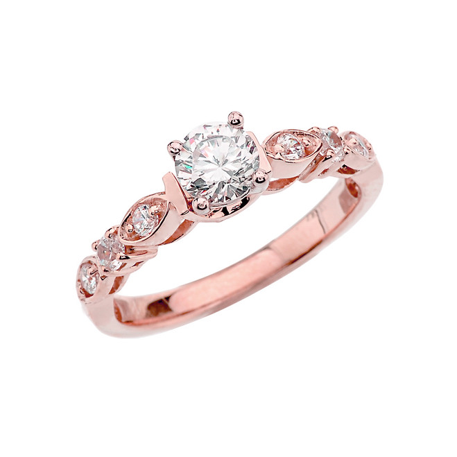 Rose Gold Engagement/Proposal Ring With Cubic Zirconia