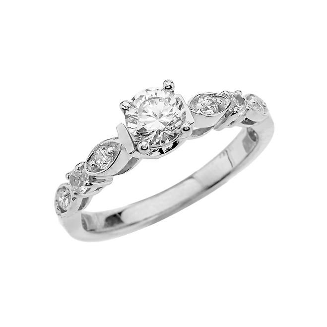 White Gold Diamond Engagement/Proposal Ring With White Topaz Center Stone