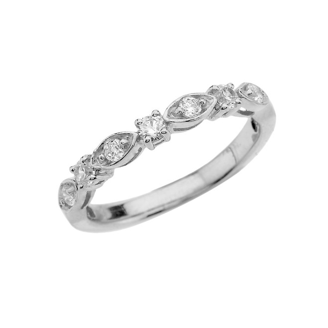White Gold Engagement/Anniversary Band With Cubic Zirconia