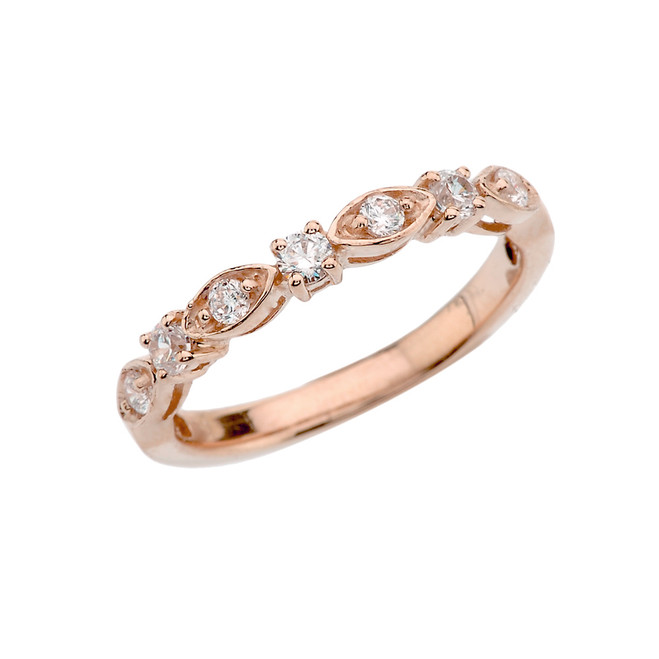 Rose Gold Engagement/Anniversary Band With Cubic Zirconia