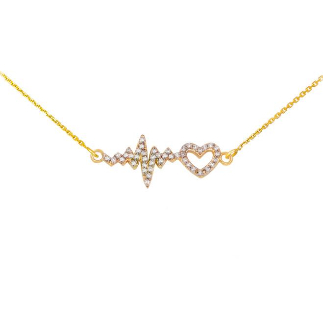 14K Yellow Gold Lifeline Pulse Heartbeat Heart Diamond Pendant Necklace