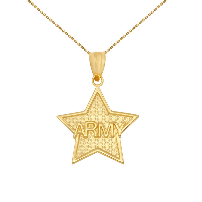 Yellow Gold US Army Star Pendant Necklace