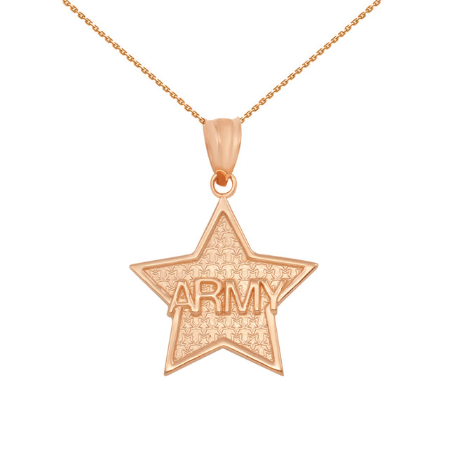 Rose Gold US Army Star Pendant Necklace
