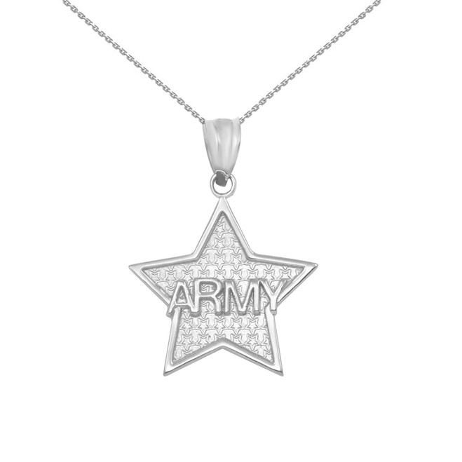 White Gold US Army Star Pendant Necklace