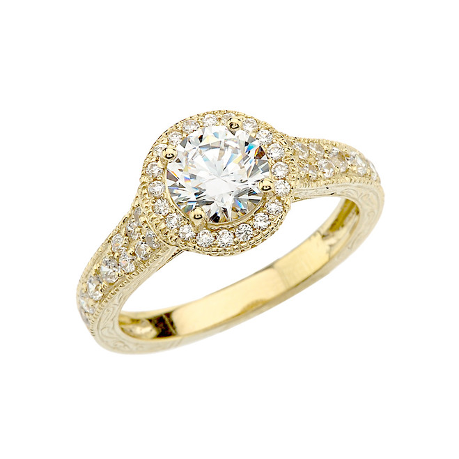 Yellow Gold Art Deco Engagement/Anniversary Ring With Cubic Zirconia