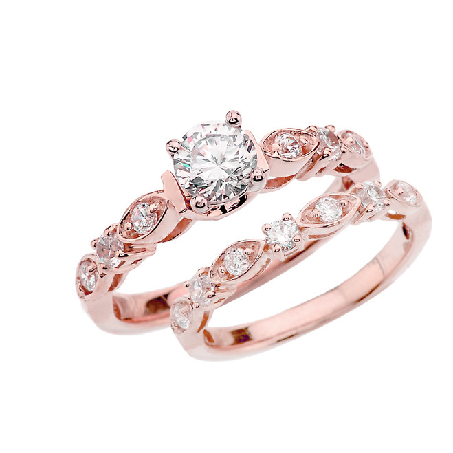 Rose Gold Wedding Ring Set With Cubic Zirconia