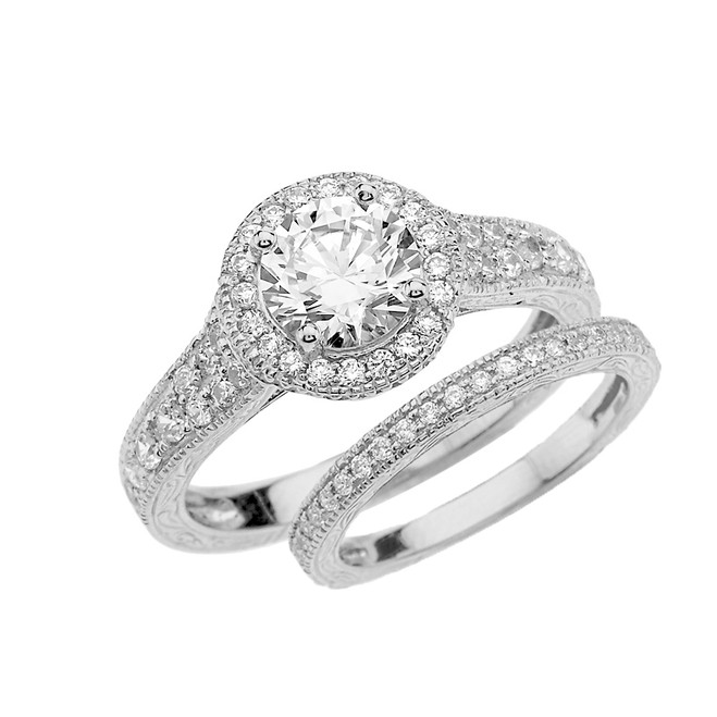 White Gold Art Deco Wedding Ring Set With Cubic Zirconia