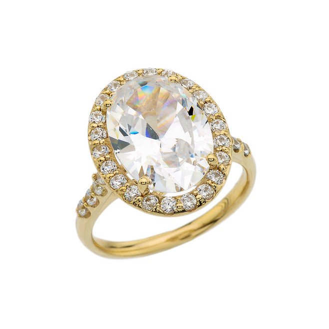 Yellow Gold Engagement Ring With 10 ct Oval CZ Center Stone