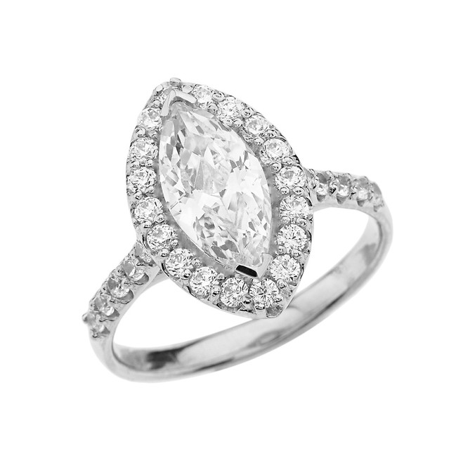 Sterling Silver Engagement/Proposal Ring With Marquise Cut Cubic Zirconia