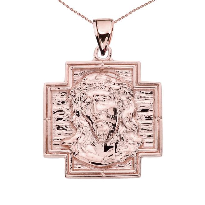 Rose Gold Antique Greek Cross Pendant Necklace