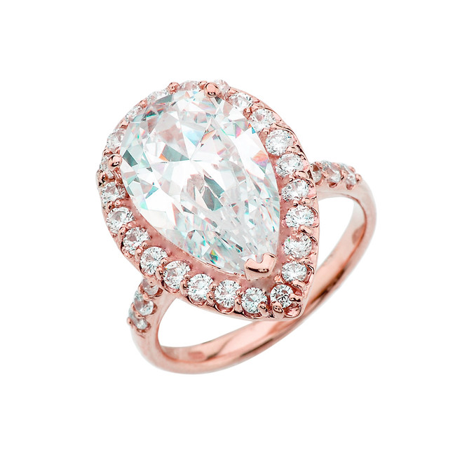 10 Carats CZ Pear-Shaped Engagement Ring in Rose Gold
