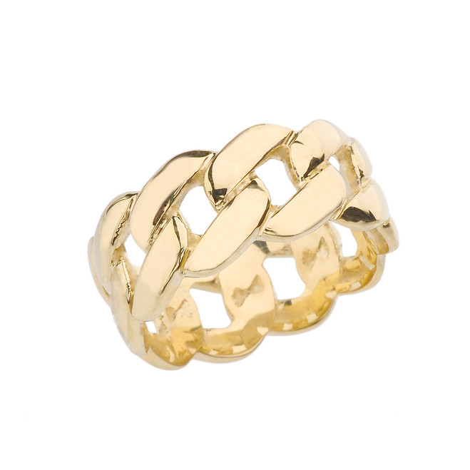 Yellow Gold 10 mm Unisex Cuban Link Chain Eternity Band Ring