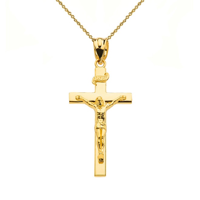 "Yellow Gold Jesus Crucifix Cross Pendant Necklace ( 1.18"")"