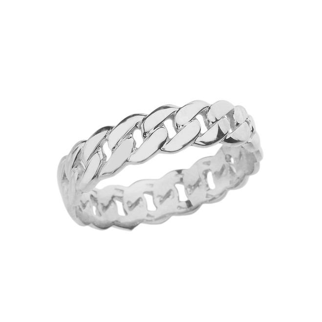 White Gold 5 mm Cuban Link Chain Eternity Band Ring