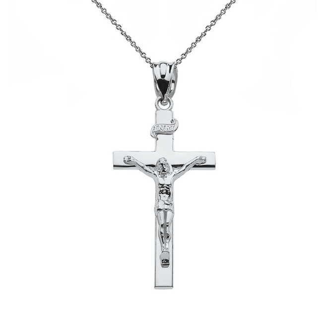 "Sterling Silver Jesus Crucifix Cross Pendant Necklace ( 1.18"")"