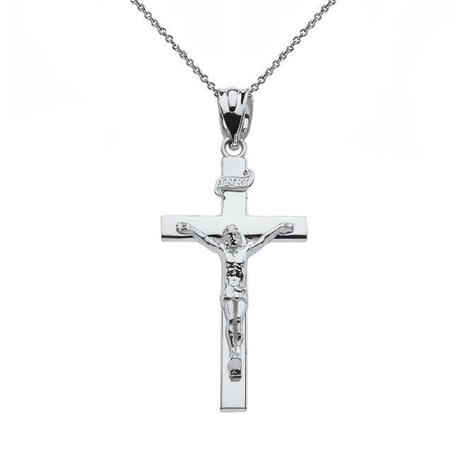 "Sterling Silver Jesus Crucifix Cross Pendant Necklace ( 1.18"")"