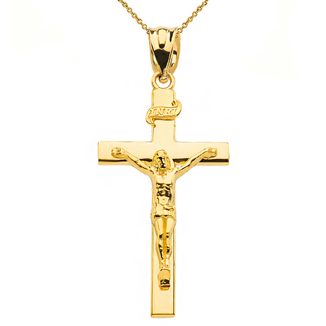 "Yellow Gold Jesus Crucifix Cross Pendant Necklace ( 1.60"")"