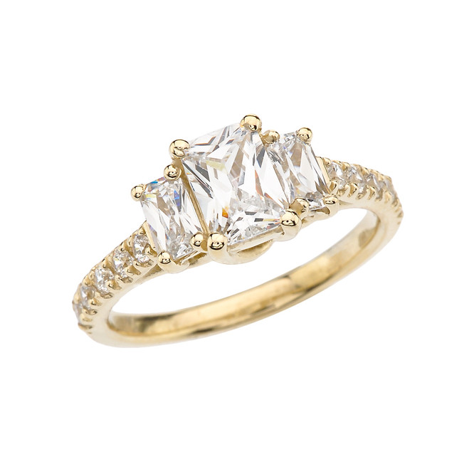 Yellow Gold Emerald Cut Fancy Engagement/Proposal Ring With Cubic Zirconia