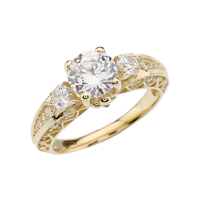 Yellow Gold Engagement and Proposal/Promise Ring With 7mm Cubic Zirconia